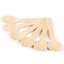 100pcs/pack Disposable Wooden Spoon Dessert Spoon ice cream spoon slim dessert spoon
