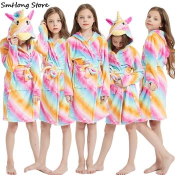 Kigurumi jednorożec zwierząt chłopcy dziewczęta piżamy Onesie piżamy szlafroki dziecięce flanelowe ręcznik z kapturem szlafroki dziecięce szlafroki tanie i dobre opinie Poliester Pasuje prawda na wymiar weź swój normalny rozmiar Unisex towel beach towel