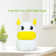 Touch Sensor Colorful Cow LED Night Light Silicone Bull Cattle Lamp USB Rechargeable Bedroom Bedside Lamp for Children Baby Gift цена
