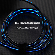1M Flowing Glowing Charging USB Data Cable Type C Micro LED Luminous Cord For iPhone Xiaomi Huawei Fast Bright Cabo