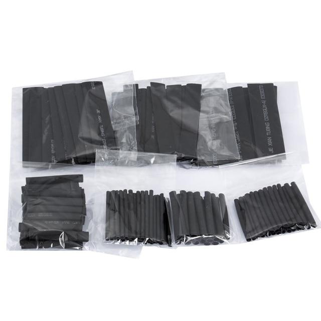 127 Pcs Termorestringenti Guaine Tubo Assortimento Kit di Collegamento Elettrico Elettrico Wire Wrap Cavo Impermeabile Restringimento 21 Nero