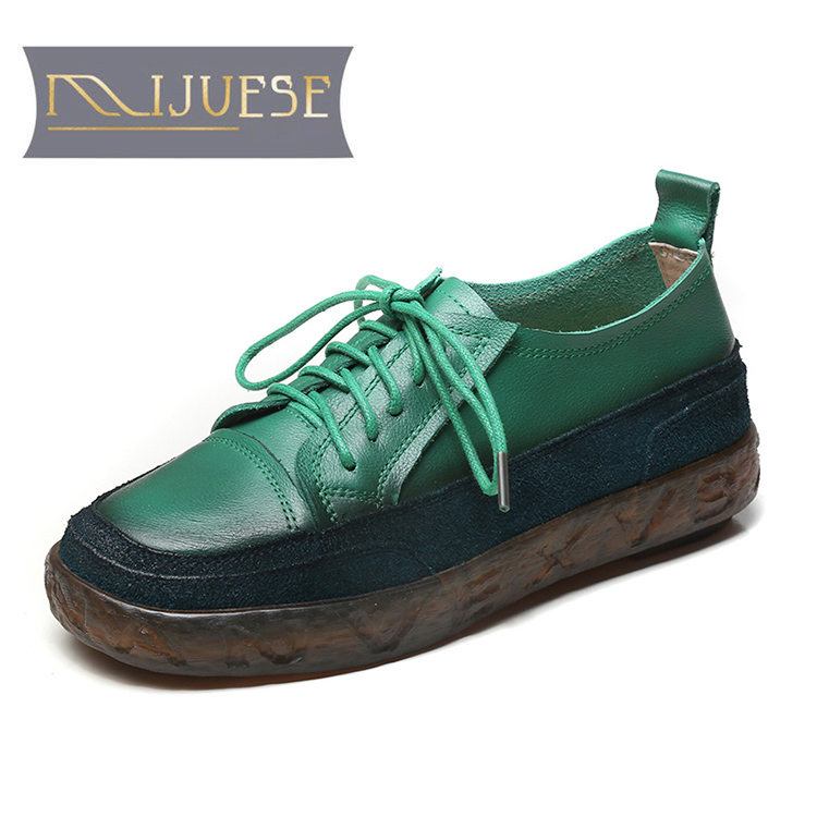 MLJUESE 2021 Women Pumps Soft Cow Leather Autumn Spring Lace Up Vintage Green Color Round toe High heels pumps Lofers Size 43