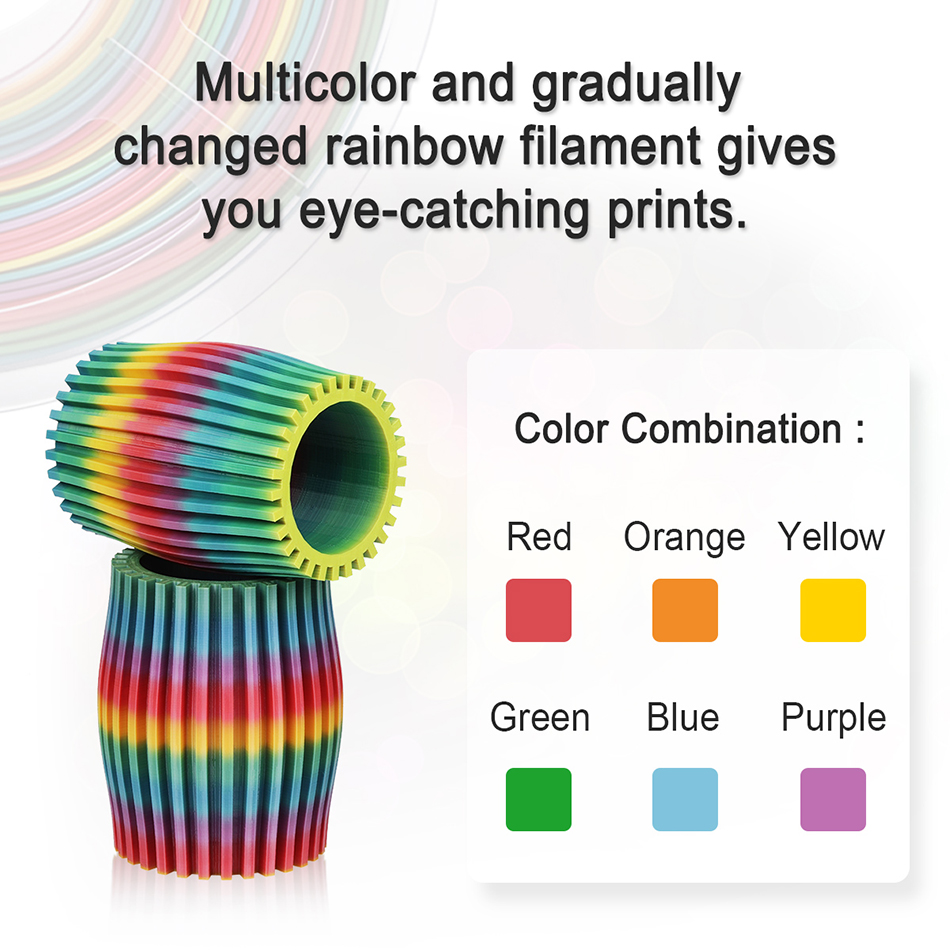 cheapest SUNLU Rainbow SILK PLA Filament 1 75mm Plastic PLA SILK 3D Printing Materials For 3d Printer New Arrivals Silk Rainbow Filament