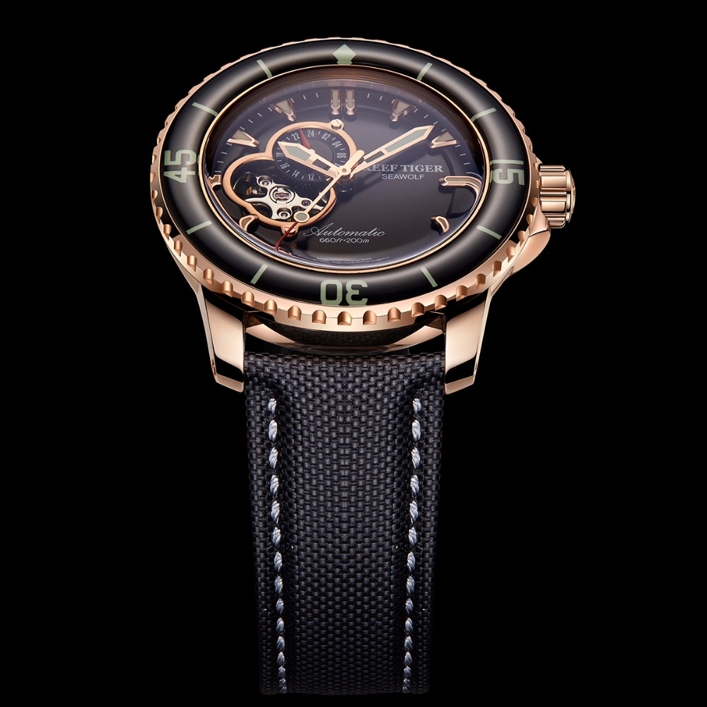 Reef Tiger/RT Top Brand Watch For Men Sport Automatic Watches Rose Gold Super Luminous Diving Watch Nylon Strap RGA3039 5