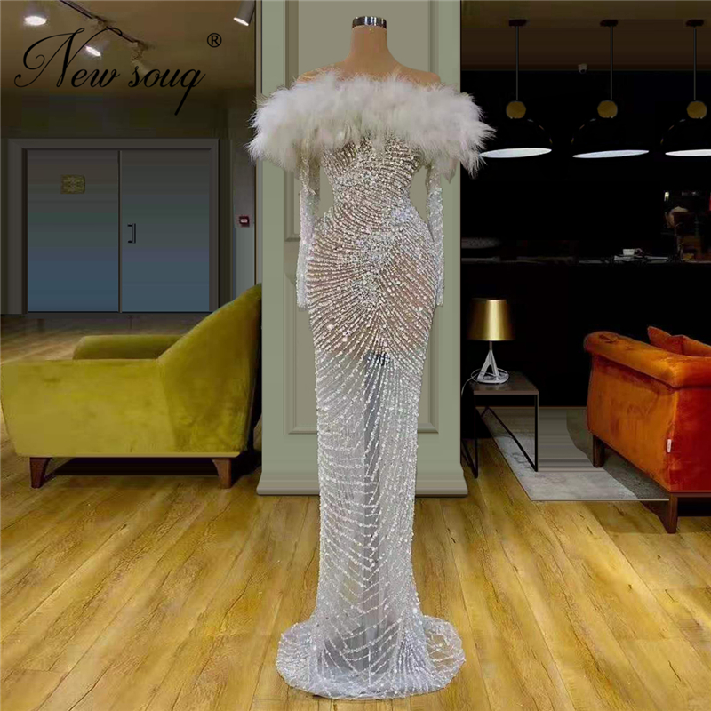 Saudi Arabia Boat Neck Feathers Evening Dresses Formal Beading Party Gowns Robe De Soiree Kaftans Sheer Prom Dress For Islamic