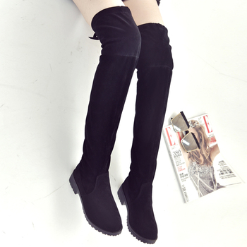 2019 women's boots autumn and winter new over the knee boots sleek minimalist comfort plus cotton flat Flock boots w34 1