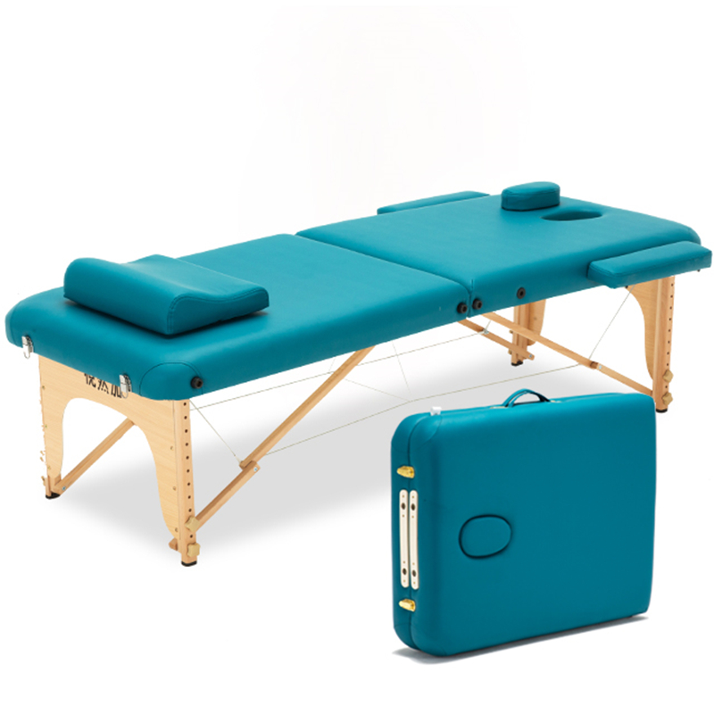 Massage Bed Portable Folding Push To Take Ai Acupuncture Beauty Bed Hand-held Fire Needle Treatment Bed Solid Wood