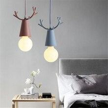 Modern Deer Pendant Lights Christmas Antlers Hanglamp E27 Lamp Childrens Room Bedroom Home Decor Pendent Light Fixtures