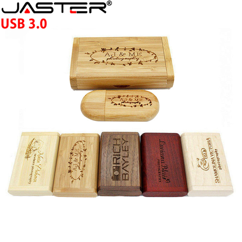 JASTER USB 3.0 Wooden U Disk 10pcs Free LOGO Custom Usb + Box  Pen Drive 4GB 8GB 16GB 32GB 64GB Usb Flash Drive Memory Stick