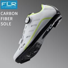 Flr sapatos masculinos de fibra de carbono, calçados antiderrapantes respiráveis para bicicleta de estrada, bicicleta, estrada, FK-F22 bloqueio de sapatos,