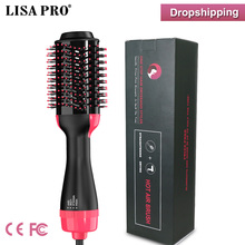 Sèche cheveux Volumizer céramique électrique sèche cheveux Air chaud style brosse générateur dions négatifs défriser les cheveux bigoudi Styler