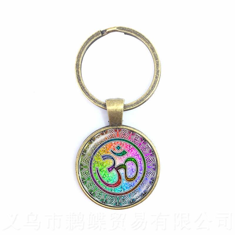 اللوتس زهرة مفتاح سلسلة ماندالا الصورة فن الزجاج كابوشون قلادة كيرينغ المقدس الهندسة اليوغا Om جديد مجوهرات الأزياء