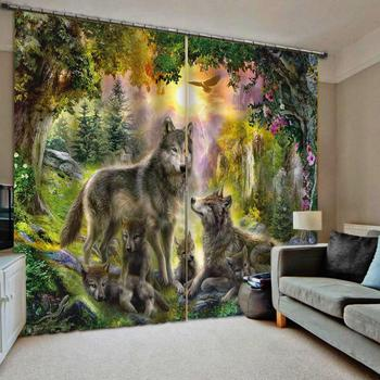 animal curtains Luxury Blackout 3D Window Curtains For Living Room Bedroom Customized size blackout curtains