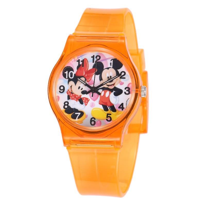 Силиконовые Мультяшные милые детские для девочек и мальчиков, детские Студенческие Кварцевые наручные часы, популярные часы, часы с Минни