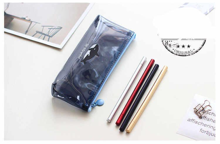 Karikatür şeffaf hayvan kalem kutusu sevimli meyve Flamingo kalem çantası çanta ofis okul malzemeleri