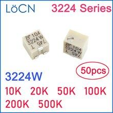 Pot de garniture SMD 3224W 4x4 10K 20K 50K 100K 200K 500K 3224 K, Variable bours 50 pièces