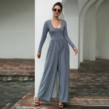 Women's Jumpsuits Autumn Winter Fashion Casual Rompers Wide Leg Long Sleeve Striped Sexy Plus Size Jumpsuit(China)