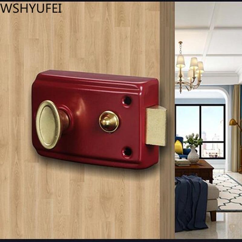 Exterior Door Retro Red Locks Security Anti theft Lock Multiple Insurance Lock Wood Door Lock For Furniture Hardware|Door Locks| |  - title=
