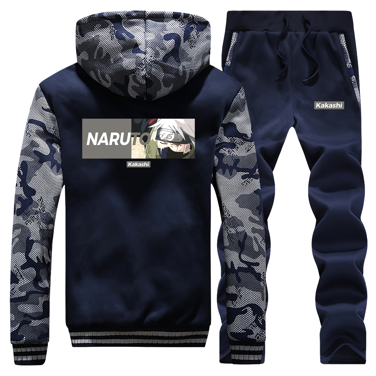 Japanese Anime Hoodies Pants Sets Men Naruto Tracksuit Coats Track Suit Winter Thick Fleece Jackets Camo Plus Size 2 Piece Sets