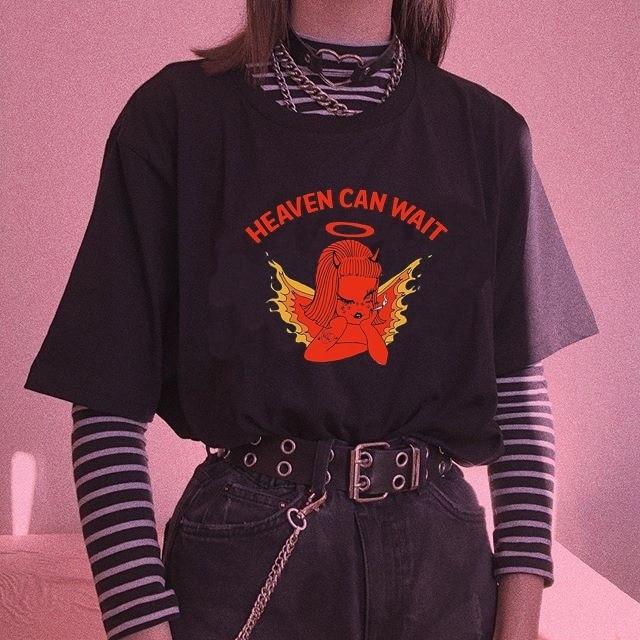 Kuakuayu HJN Cute Angel Cherub T Shirt Heaven Can Wait Angel Print Women Tshirt Cotton Casual Funny T Shirt Lady Yong Girl Top