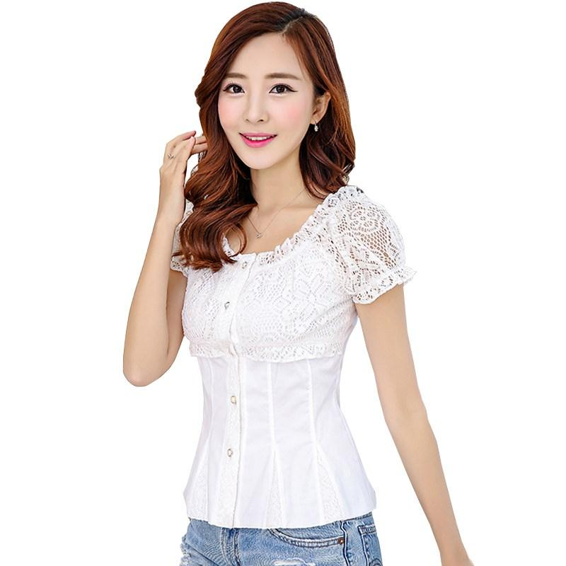 Lace Grid Female Xia Han Fan Short-sleeved White Shirt