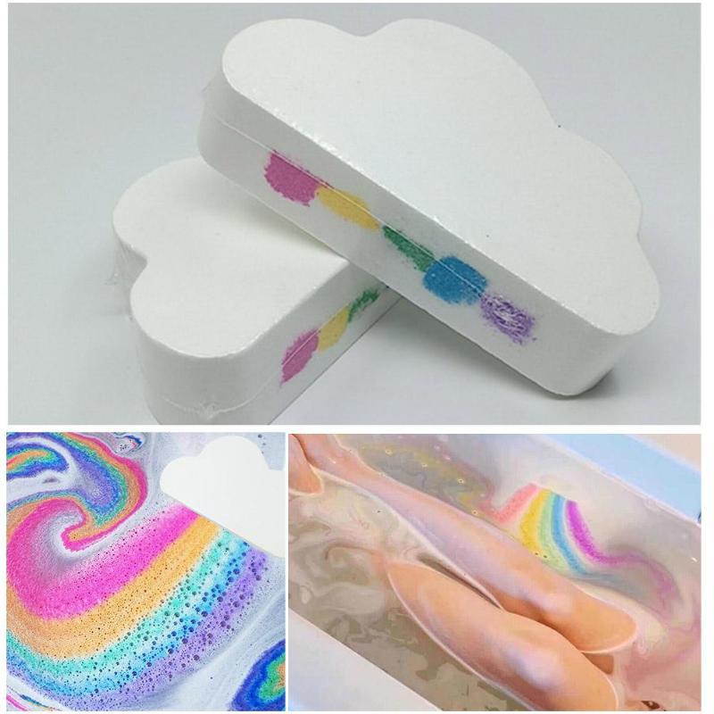 Natural Skin Care Cloud Rainbow Bath Salt Ball Essential Oil Effervescent Bubble Bath Bombs Exfoliating Moisturizing Bubble Bath