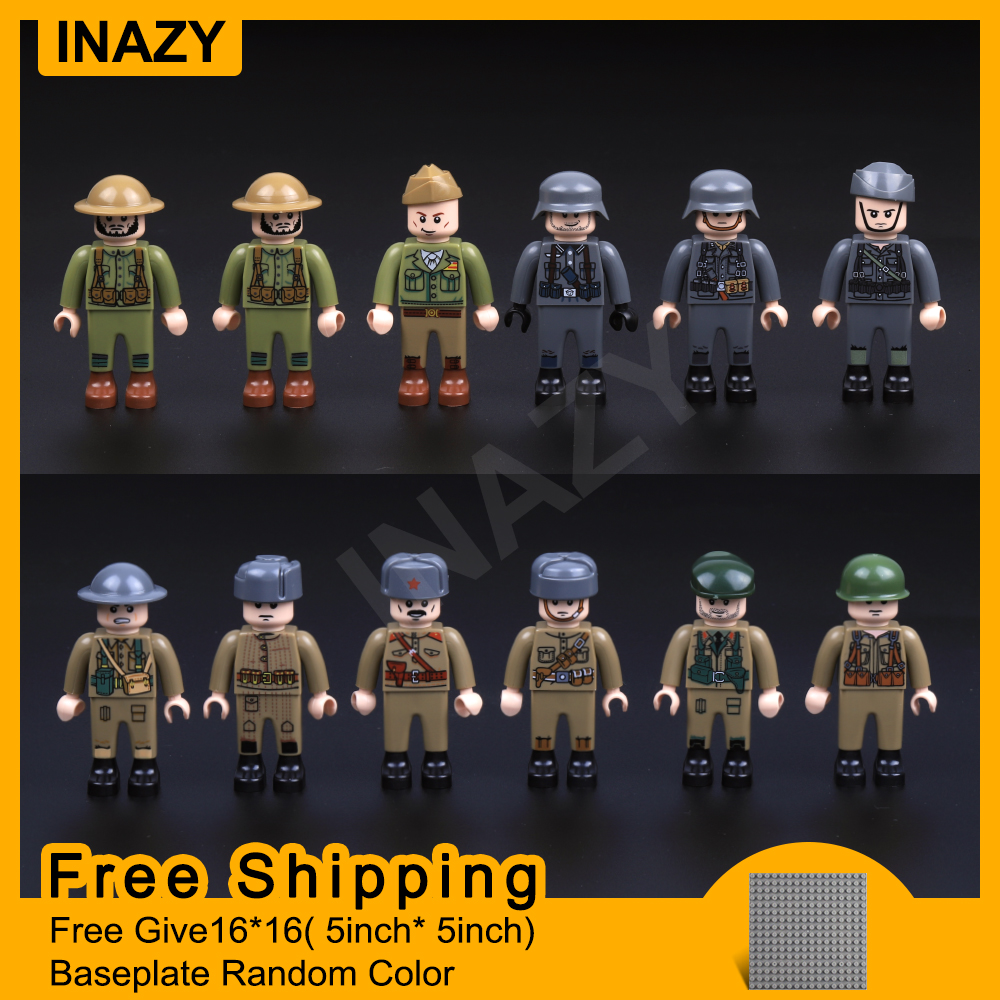 12pcs New Structure Enlighten WW2 Army Military Building Blocks US Russian Italy Japan Soldier Officer Weapons Bricks Toys Kids