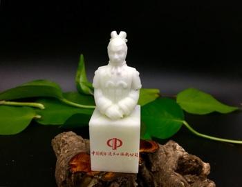 Naturalny Jade znaczek dostosuj znaczek terakotowa Warriors znaczek prezent dla mężczyzn kreatywne akcesoria biurowe biurowe tanie i dobre opinie J001 Biurko zestawy