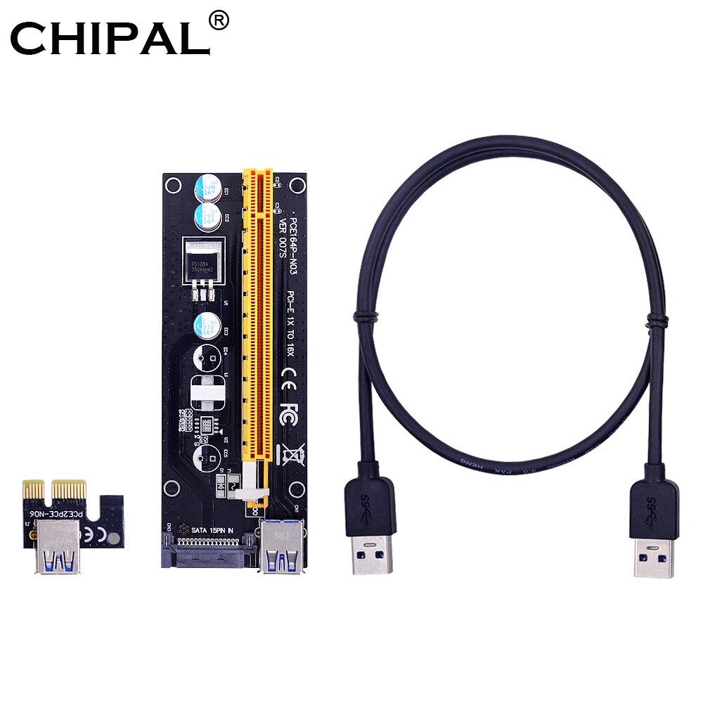 CHIPAL VER007S PCI-E Райзер-карта 007S PCIE 1X до 16X удлинитель 15 контактов SATA Power 100 см 60 см USB 3,0 кабель для майнинга BTC LTC