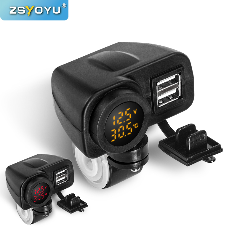 Waterproof 12V To 5V  Motorcycle USB Charger For Moto 2.1A 12v Motorcycle Charger With Voltmeter LED Display Thermometer|Cables, Adapters & Sockets|   - AliExpress