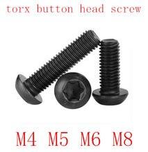 5-50 pces m2 m3.5 m3 m4 m5 m6 m8 grau 10.9 de aço com preto seis lóbulo torx pan parafuso de cabeça de botão redondo