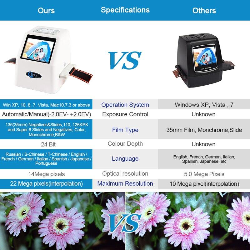 "Image 3 - 35mm Film Scanner 22 Mega Pixels Negative Slide Scanner 110 135 126KPK Digital Film Converter with 2.4""LCD Support Russian-in Scanners from Computer & Office"