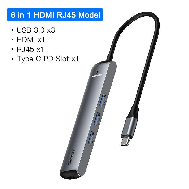 6 in 1 HDMI RJ45 HUB