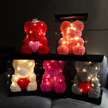 LED light Rose teddy bear valentine's gift flowers foam bear with love heart wedding foam flowers decorations love rose bear(China)
