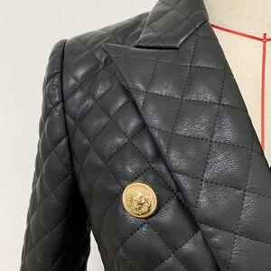Image 5 - Qualidade superior 2020 mais novo designer jaqueta feminina duplo breasted leão botões grade costura blazer de couro sintético