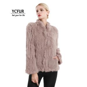 Image 2 - YCFUR vestes en fourrure véritable pour femmes, veste en fourrure de lapin épaisse tricotée pour femmes, veste dhiver pour femmes
