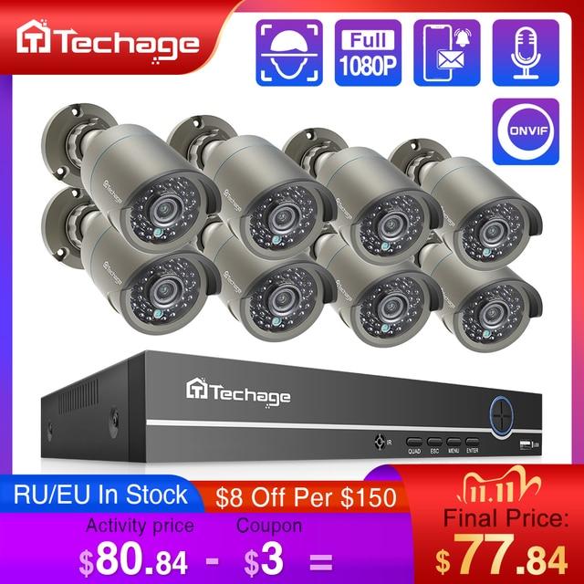 Techage H.265 8CH 1080P HDMI POE NVR Kit système de sécurité CCTV 2.0MP IR enregistrement Audio extérieur caméra IP P2P ensemble de Surveillance vidéo