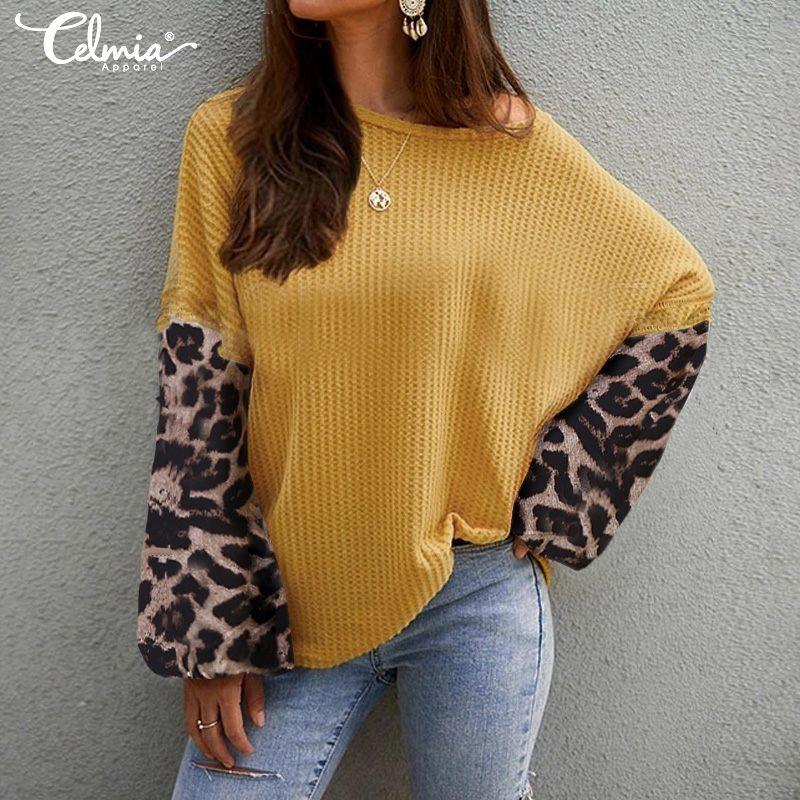 Celmia Women Leopard Print Blouse Patchwork Plus Size Tunic Tops Long Lantern Sleeve Casual Elegant Shirts Loose Blusas 4XL 5XL