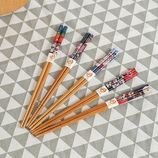 Фото палочки для еды многоразовые из натурального дерева 5 пар