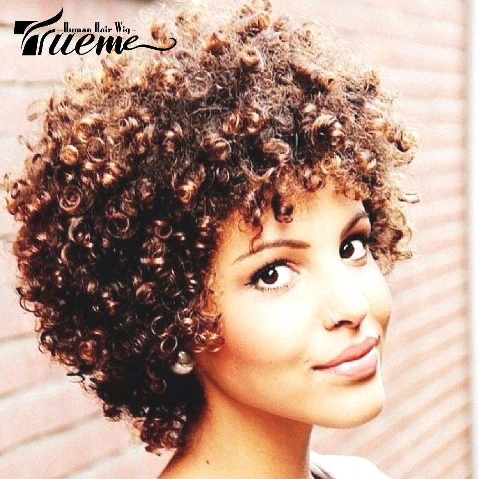 Trueme Wigs Human Hair Short Curly Wigs For Black Women Brown Color Brazilian Afro Kinky Curly Remy Human Hair Wig Machine Made