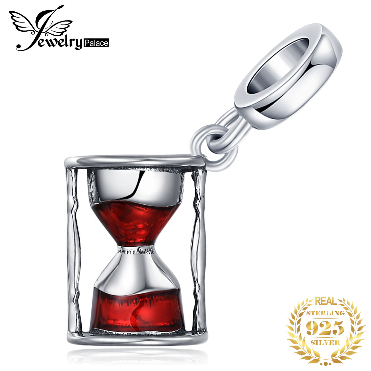JewelryPalace Hourglass 925 Sterling Silver Beads Charms Silver 925 Original For Bracelet Silver 925 Original For Jewelry Making