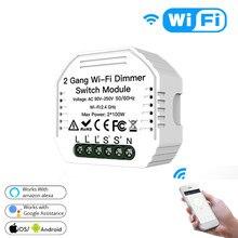 1/5PCS Tuya 2 Gang Smart Switch WiFi LED Dimmer Modul Smart Licht Schalter 2Way Smart Lebensdauer Fernbedienung steuerung Für Alexa Google Hause