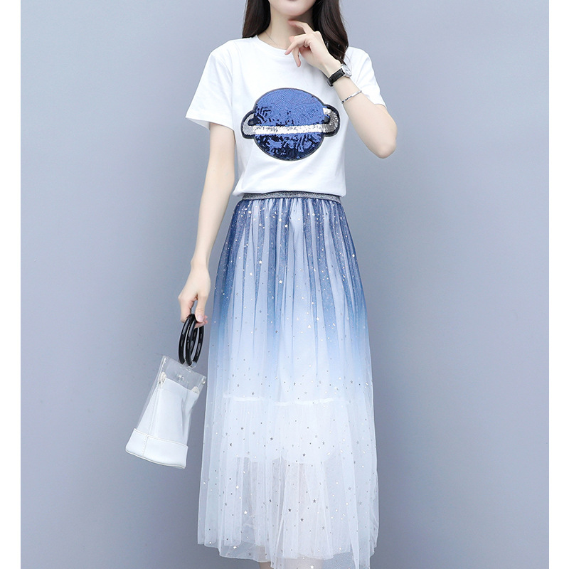 2019 Summer WOMEN'S Dress Very Fairy Of France Non-mainstream Dress Sequin T-shirt Gradient Gauze Skirt Two-Piece Set