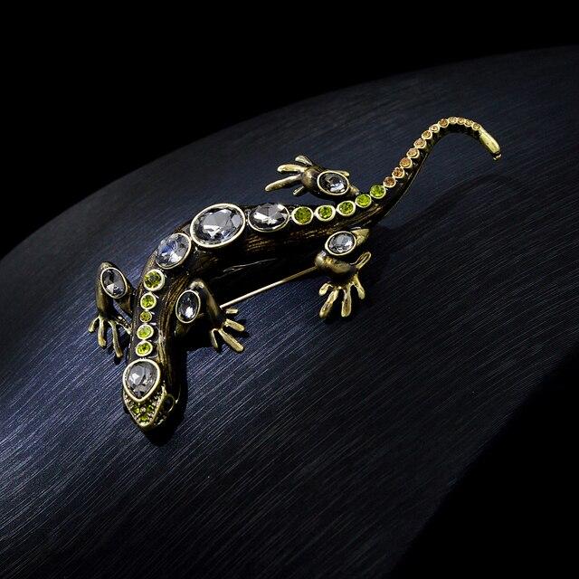 CINDY XIANG-broches de cristal de lagarto para mujer y hombre, alfileres de animales brillantes, broche de diamantes de imitación, accesorios de joyería para niños 3