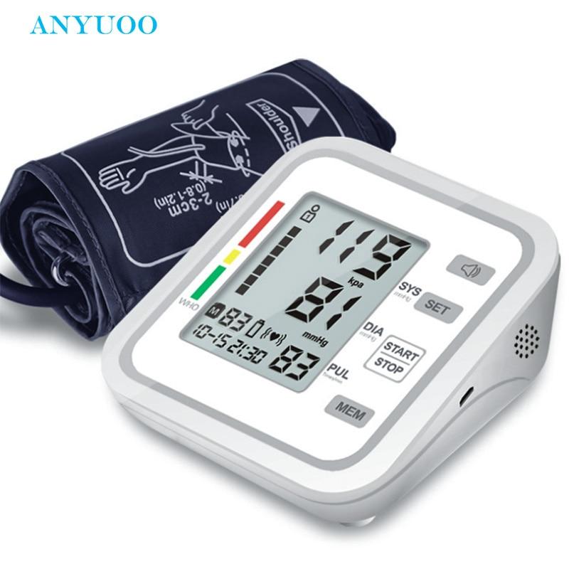 Blood Pressure Monitor Upper Arm Automatic Digital Sphygmometer BP Pulse Heart Rate Meter Large LCD Display English Broadcast