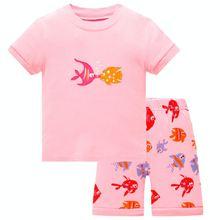 2020 летние Пижамные комплекты для девочек футболки с коротким