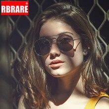RBRARE 2019 Metal Round Frame Sunglasses Women Trend Retro Double Beam Sun Glasses Vintage Luxury Pink Ocean Lens Eyeglasses