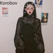 Jackets Cropped Mesh Korobov Korean Summer Thin-Coat Batwing-Sleeve Spring Perspective