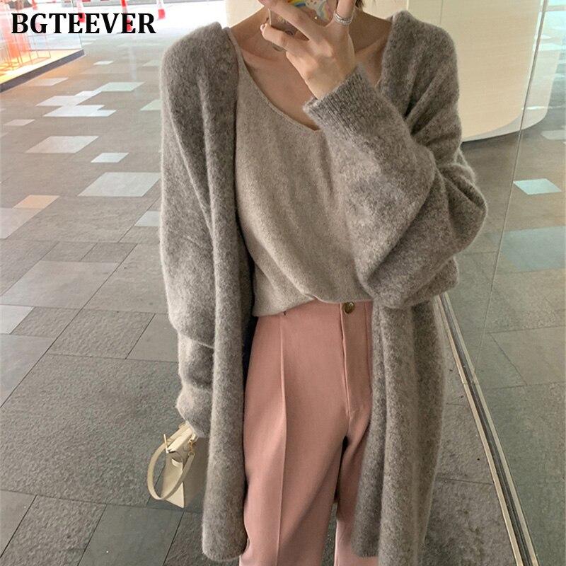 Elegant Long Sweater Cardigan Women Long Sleeve Oversized Ladies Outwear Jumper Coat Female Winter Open Stitch Sweater Coat 2019