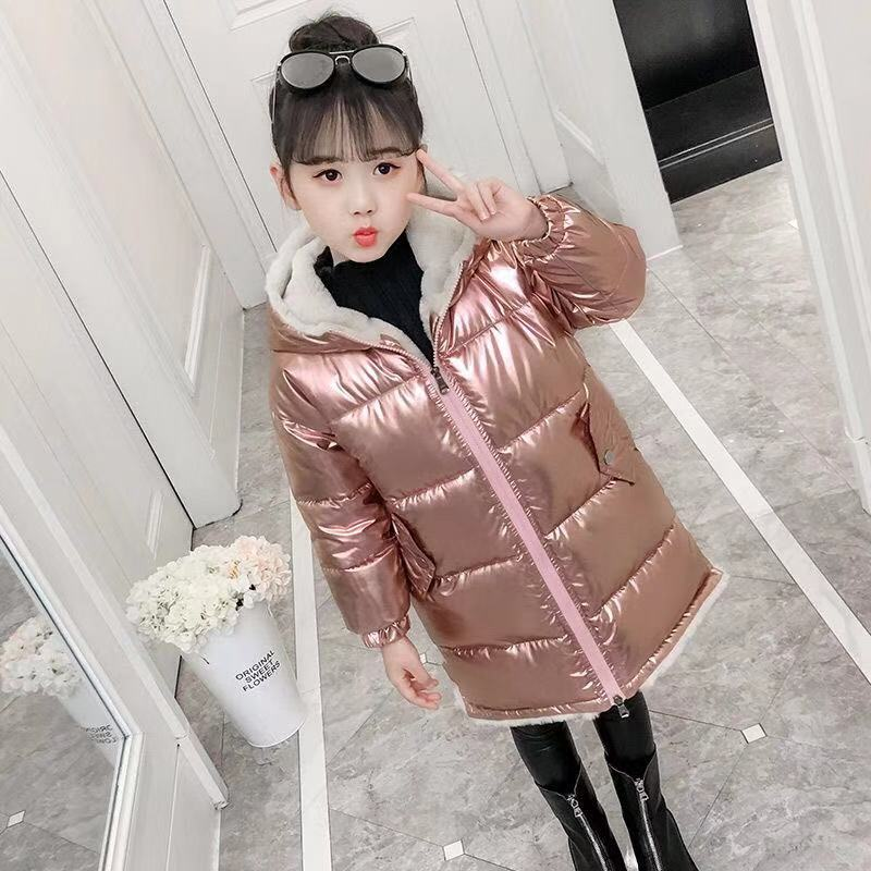 Pink Gilding Fabric Glossy Long Jacket Winter For Girls Hooded Warm Glossy Down Cotton Boys Outerwear Children's Parkas Coats